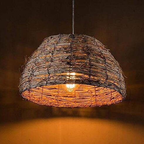 Natural Rattan Pendant Light, Shabby Chic Light Fixture, Home Decor Wicker Weave Lampshade
