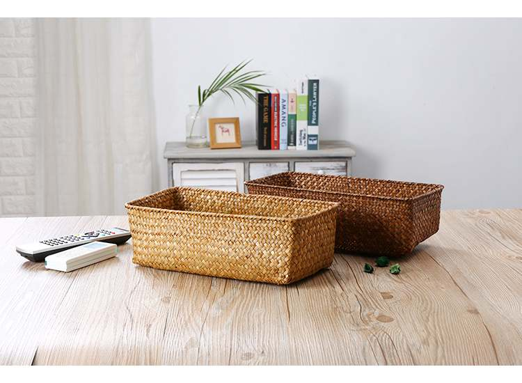 Set of 3 straw woven basket, Natural vintage straw square box, Utility basket,Personalized gift