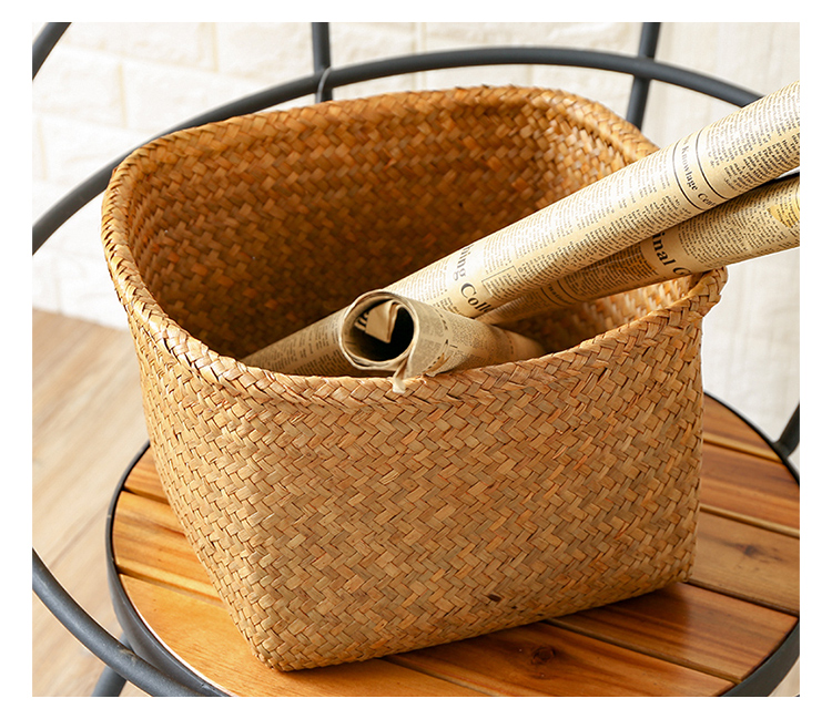 Straw woven basket, Square clothes storage box, Utility basket,Personalized gift